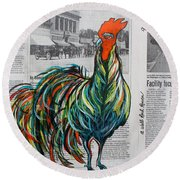 Round Beach Towel featuring the painting A Well Read Rooster by Janice Rae Pariza