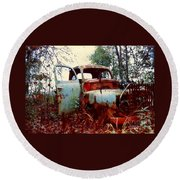 Round Beach Towel featuring the photograph Abandoned  Journey  by Michael Hoard