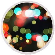 Abstract Colorful Round Bokeh Lights Round Beach Towel