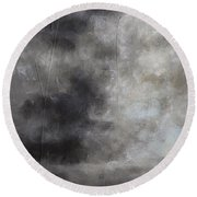 Abstract Contemporary Seascape Landscape Painting On Stretched Canvas Round Beach Towel