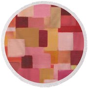 Round Beach Towel featuring the painting Abstract Squares by Patricia Cleasby