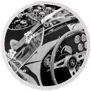 Ac Shelby Cobra Engine - Steering Wheel Round Beach Towel
