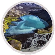 Round Beach Towel featuring the photograph Aerial Photography by Gunnar Orn Arnason