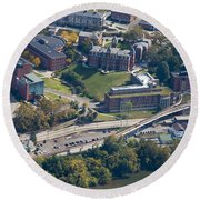 aerials of WVVU campus Round Beach Towel