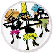 Round Beach Towel featuring the digital art African Dancers by Marvin Blaine