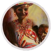 Round Beach Towel featuring the painting African Mother And Child by Sher Nasser