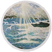 After The Storm Round Beach Towel by Leanne Seymour
