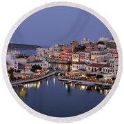 Agios Nikolaos City During Dusk Time Round Beach Towel