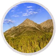 Alaska Mountains Round Beach Towel
