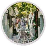 Alley In Ios Town Round Beach Towel
