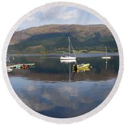 Round Beach Towel featuring the photograph Along Loch Leven 3 by Wendy Wilton