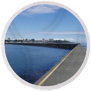Round Beach Towel featuring the photograph Along The Breakwater by Marilyn Wilson
