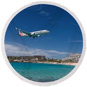 American Airlines At St Maarten Round Beach Towel by David Gleeson