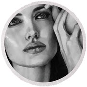Round Beach Towel featuring the painting Angelina Jolie Black And Whire by Georgi Dimitrov