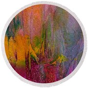 Round Beach Towel featuring the painting Anticipation  by Mary Sullivan