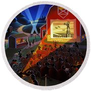 Ants At The Movies Round Beach Towel