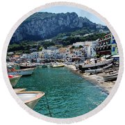 Arrival To Capri  Round Beach Towel by Dany Lison