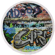 Artistic Graffiti On The U2 Wall Round Beach Towel by Panoramic Images
