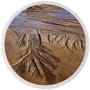 Round Beach Towel featuring the photograph Artwork Of The Tides by Gary Slawsky