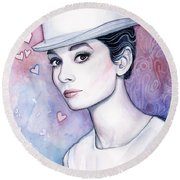 Audrey Hepburn Fashion Watercolor Round Beach Towel by Olga Shvartsur