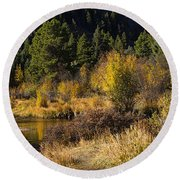 Autumn In The Rockies Round Beach Towel by Anne Rodkin