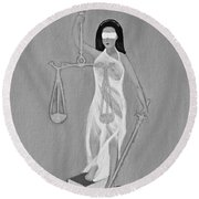 Round Beach Towel featuring the painting Balance 2 by Lorna Maza
