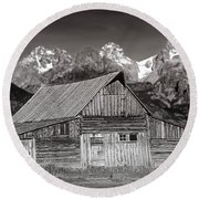 Barn And Tetons Round Beach Towel by Jerry Fornarotto