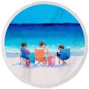 Beach Painting 'girl Friends' By Jan Matson Round Beach Towel by Jan Matson