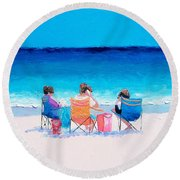 Beach Painting 'girl Friends' By Jan Matson Round Beach Towel