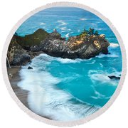 Beautiful Mcway Falls Along The Big Sur Coast. Round Beach Towel