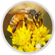 Bee On A Yellow Flower Round Beach Towel by Marian Cates