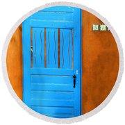 Blue Door In Santa Fe Round Beach Towel