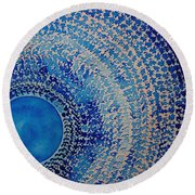 Blue Kachina Original Painting Round Beach Towel