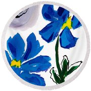 Round Beach Towel featuring the painting 2 Blue Petunias Abstract by Frank Bright