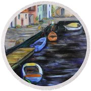 Round Beach Towel featuring the painting Boats In Front Of The Buildings IIi by Xueling Zou