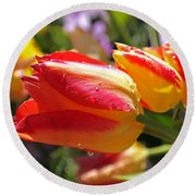 Bowing Tulips Round Beach Towel