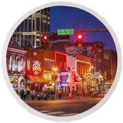 Broadway Street Nashville Round Beach Towel by Brian Jannsen