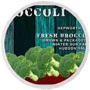 Broccoli Farm Round Beach Towel