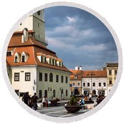 Buildings In A City, Town Center Round Beach Towel