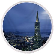 Buildings Lit Up At Dusk, Transamerica Round Beach Towel