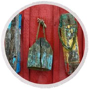 Round Beach Towel featuring the photograph Buoys At Rockport Motif Number One Lobster Shack Maritime by Jon Holiday