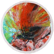 Butterfly And Flower Round Beach Towel by Jasna Dragun
