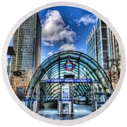 Canary Wharf Round Beach Towel by David Pyatt