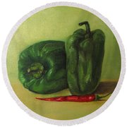 Capsicum And Red Chilli Round Beach Towel