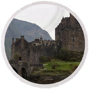 Cartoon - Structure Of The Eilean Donan Castle With A Stone Bridge Round Beach Towel