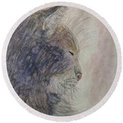Round Beach Towel featuring the painting Cat Nap by Angela Davies