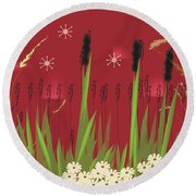 Cattails Round Beach Towel by Kim Prowse