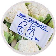 Cauliflower Round Beach Towel by Tom Gowanlock