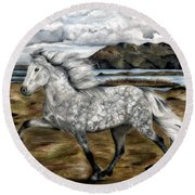 Charismatic Icelandic Horse Round Beach Towel