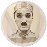 Vintage Charlie Chaplin Round Beach Towel by Fred Larucci